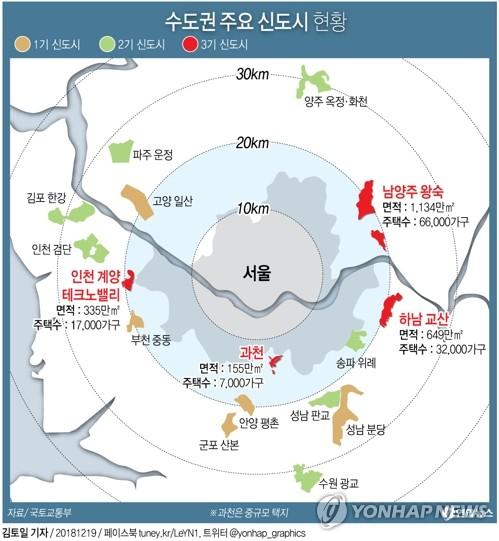 [그래픽] 3기 신도시 남양주·하남·인천 계양