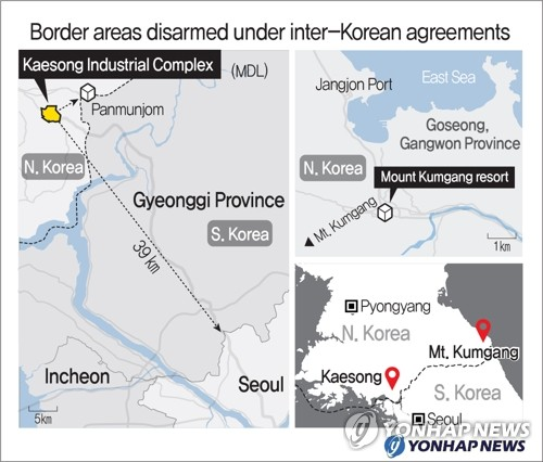 (LEAD) Eyes on Kaesong, Mt. Kumgang as N.K. threatens to send troops to disarmed border areas