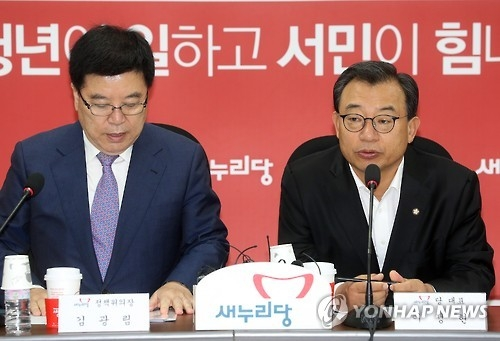 Lee Jung-hyun (R), who heads the ruling Saenuri Party, speaks during a meeting with government officials to discuss measures for the Hanjin Shipping debacle on Sept. 6, 2016. (Yonhap)