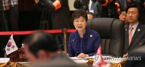 President Park Geun-hye speaks during the South Korea-ASEAN (Association of Southeast Asian Nations) summit in the Laotian capital of Vientiane on Sept. 7, 2016. (Yonhap)