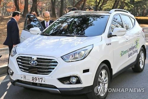 Hyundai Motor Co.'s fuel cell electric vehicle, the Hyundai Tuscon FCEV (Yonhap file photo)
