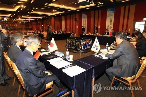 Representatives of local governments from five Northeast Asian countries -- South Korea, China, Russia, Mongolia and Japan -- meet in Sokcho, a coastal city in the northeastern South Korean province of Gangwon, on Oct. 12, 2016, to attend a meeting of the Local Cooperation Committee of the Greater Tumen Initiative, an economic cooperation body in the Northeast Asian region. (Yonhap)