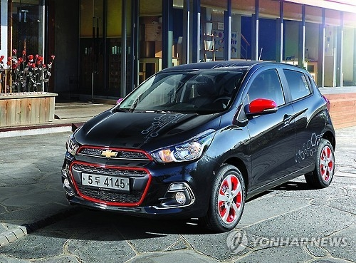 The Chevrolet Spark minicar by GM Korea. With 78,035 units sold in South Korea in 2016, the car greatly helped boost domestic sales of GM Korea. (Photo courtesy of GM Korea)