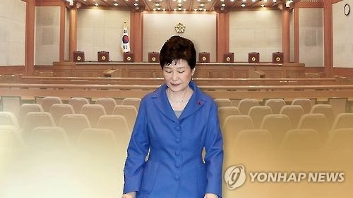 This image, provided by Yonhap News TV, shows President Park Geun-hye and the main room of the Constitutional Court. (Yonhap)
