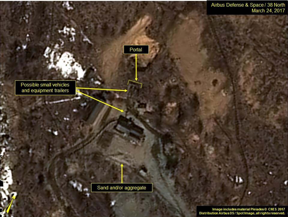 Possible vehicles or equipment are spotted at North Korea's nuclear test site in Punggye-ri in this satellite imagery released by the 38 North website. (Yonhap)