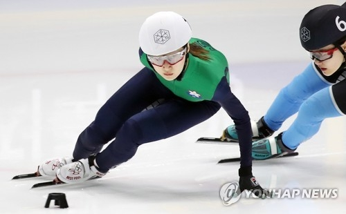 South Korean short track speed skater Choi Min-jeong races in the women's 1,500m super final at the Olympic team trials at Mokdong Ice Rink in Seoul on April 9, 2017. (Yonhap)