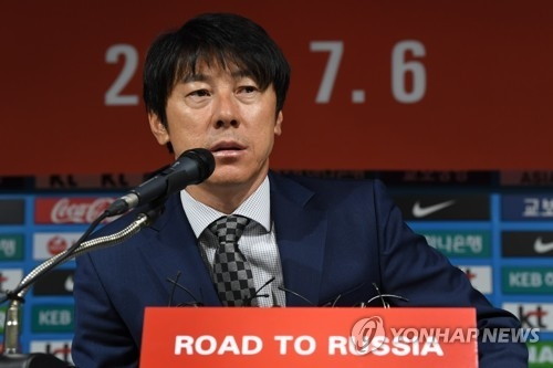 New South Korean national football team head coach Shin Tae-yong speaks at a press conference at the Korea Football Association headquarters in Seoul on July 6, 2017. (Yonhap)