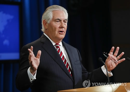 This AP photo shows U.S. Secretary of State Rex Tillerson speaking during a press conference at the Department of State in Washington on Aug. 22, 2017. (Yonhap)