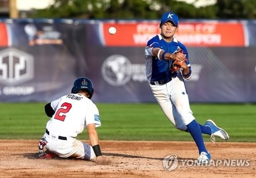 This undated file photo provided by the World Baseball Softball Confederation shows South Korean shortstop Bae Ji-hwan (R) in action during a tournament. (Yonhap)