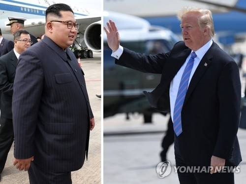 These photos show North Korean leader Kim Jong-un (L) and U.S. President Donald Trump. They are scheduled to hold a summit on June 12, 2018, in Singapore. The photo at left was provided by Singapore's communications and information ministry, and the photo at right, provided by AFP, shows Trump waving his hand in Canada ahead of his departure to Singapore. (Yonhap)