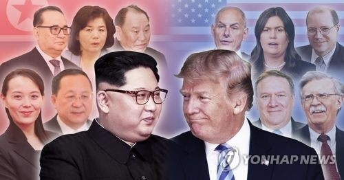 This combined image shows North Korean leader Kim Jong-un (L) and U.S. President Donald Trump, along with their key aides. (Yonhap)