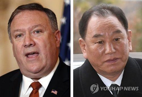 These file photos show U.S. Secretary of State Mike Pompeo (L) and Kim Yong-chol, vice chairman of the North Korean Workers' Party's Central Committee. (Yonhap)