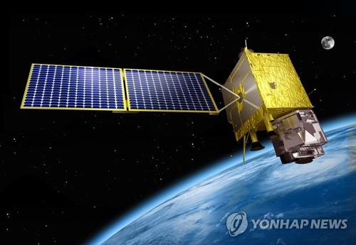 This photo provided by the Korea Aerospace Research Institute (KARI) shows a rendering of South Korea's indigenous geostationary weather satellite Chollian-2A, in the earth's orbit. (Yonhap)