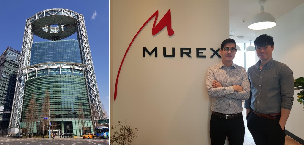 The photo on left shows WeWork Jongno Tower in central Seoul. In the right photo, taken March 5, 2019, financial consultant Choe Joseph (L) and his colleague Lau Arthur pose for a photo after an interview with Yonhap News Agency at Murex Korea's co-working office space. (Yonhap)