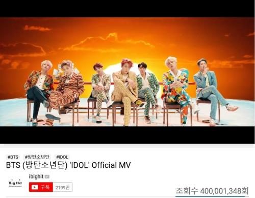 BTS' 'Idol' video tops 400 mln YouTube views - 1