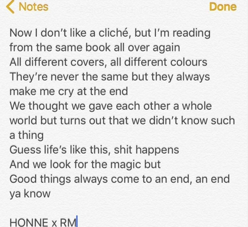 This image, captured from HONNE's social media account, shows the lyrics of the band's new joint song with RM of BTS. (Yonhap)