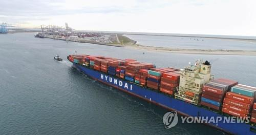 This photo provided by Hyundai Merchant Marine Co., shows a Hyundai container vessel. (Yonhap)