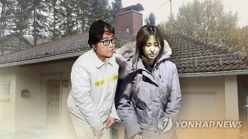 This file image shows Choi Soon-sil (L), her daughter Chung Yu-ra and a German home they once lived in together. (Yonhap)