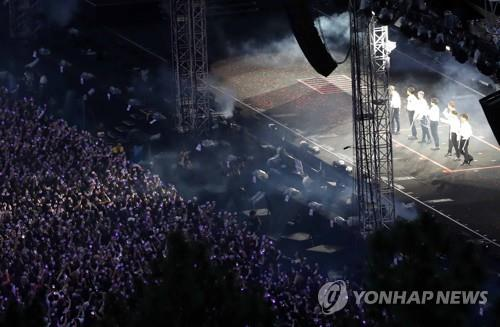 "This photo shows BTS performing on the first day of the Busan leg of the ""5th Muster [Magic Shop]"" tour at Busan Asiad Auxiliary Stadium on June 15, 2019. (Yonhap)"
