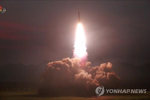 "A ""new-type tactical guided missile"" is launched on Aug. 6, 2019, in this photo released by the North's official Korean Central News Agency (KCNA) on Aug. 7, 2019. North Korean leader Kim Jong-un, who watched the firing, said this week's missile launches were an ""adequate warning"" against the joint military exercise between South Korea and the United States that kicked off earlier this week, the KCNA said. (For Use Only in the Republic of Korea. No Redistribution) (Yonhap)"