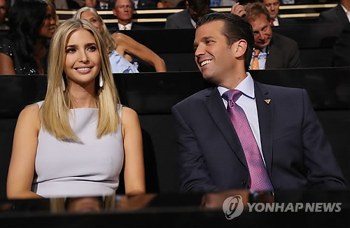 This EPA photo shows Donald Trump Jr. (R) and Ivanka Trump. (Yonhap)