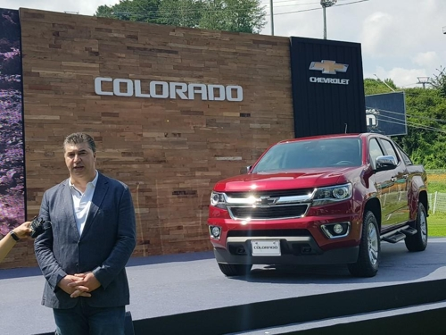 In this photo taken Aug. 26, 2019, GM Korea President and CEO Kaher Kazem answers media questions on its newly launched Colorado pickup truck at a press event held in Hoengseong, Gangwon Province. (Yonhap)