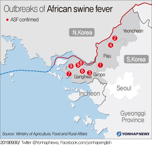(2nd LD) Another suspected African swine fever case reported in South Korea - 1