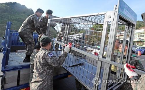 Traps to catch wild boars are sent to a military base in Hwacheon, Gangwon Province, on Oct. 16, 2019. (Yonhap)