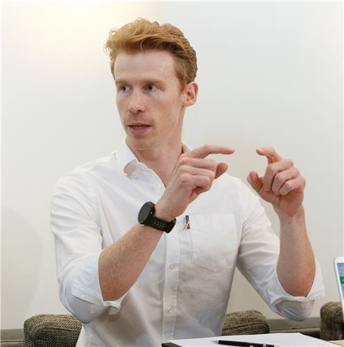 Luke Kavanagh, Senior Design Engineer at Dyson Ltd., talks to Yonhap News Agency on Oct. 31, 2019, in this photo provided by Dyson. (PHOTO NOT FOR SALE) (Yonhap)