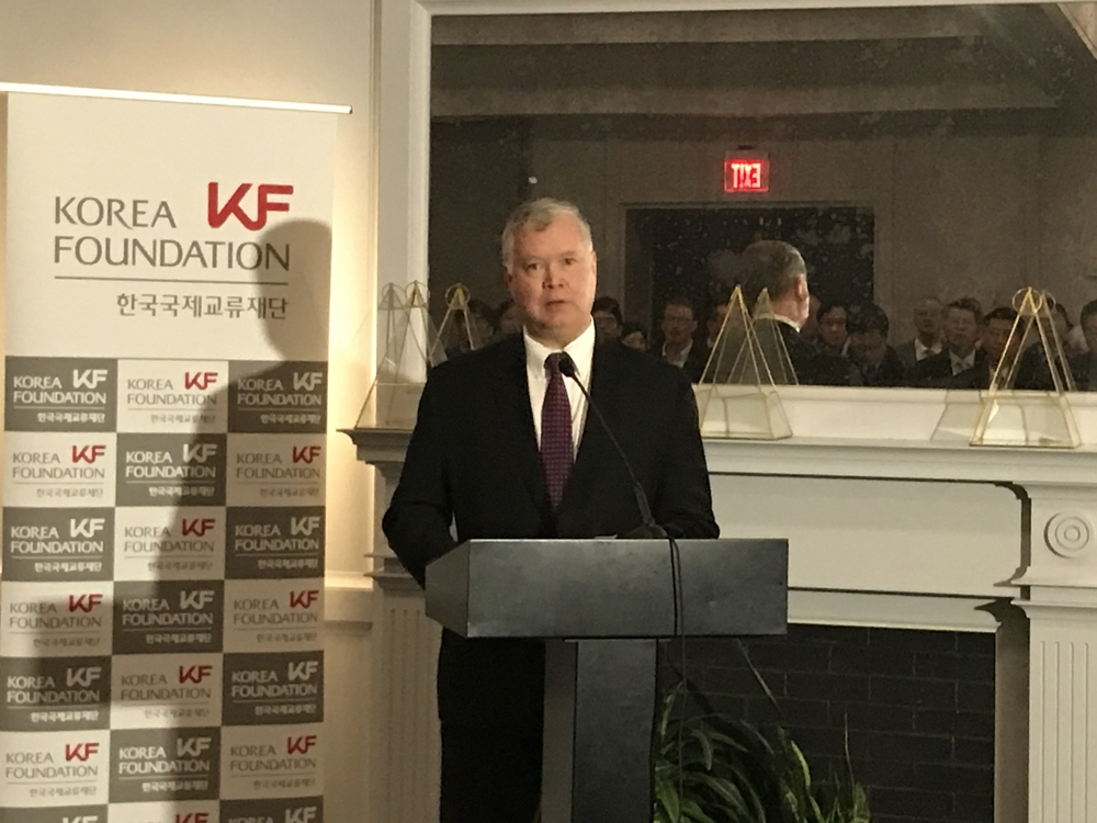U.S. Special Representative for North Korea Stephen Biegun delivers remarks during a yearend reception hosted by the Korea Foundation in Washington on Dec. 3, 2019. (Yonhap)