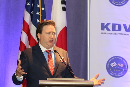 Marc Knapper, U.S. deputy assistant secretary of state for Korea and Japan, speaks at a conference on the South Korea-U.S. alliance at the Mayflower Hotel in Washington on Dec. 4, 2019. (Yonhap)