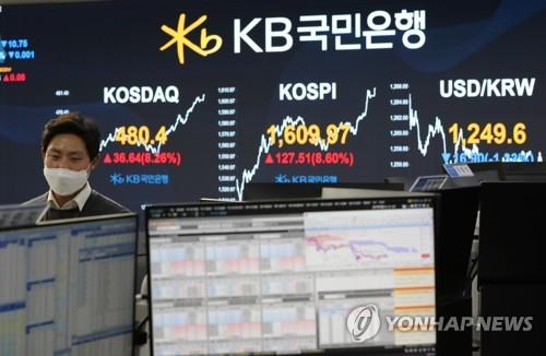 This photo taken on March 24, 2020, shows a currency dealing room at KB Kookmin Bank in Seoul. (Yonhap)