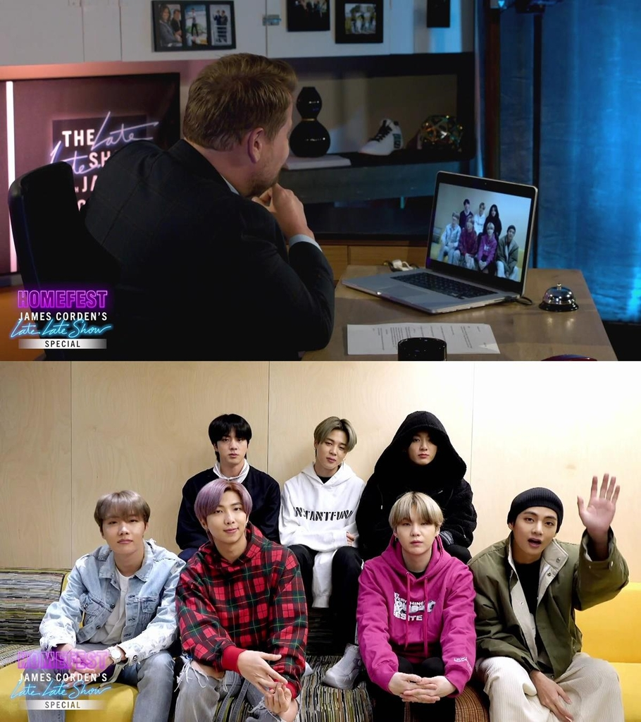 "These images captured from ""The Late Late Show with James Corden"" that aired on March 30, 2020 (U.S. time), were provided by Big Hit Entertainment. (PHOTO NOT FOR SALE) (Yonhap)"