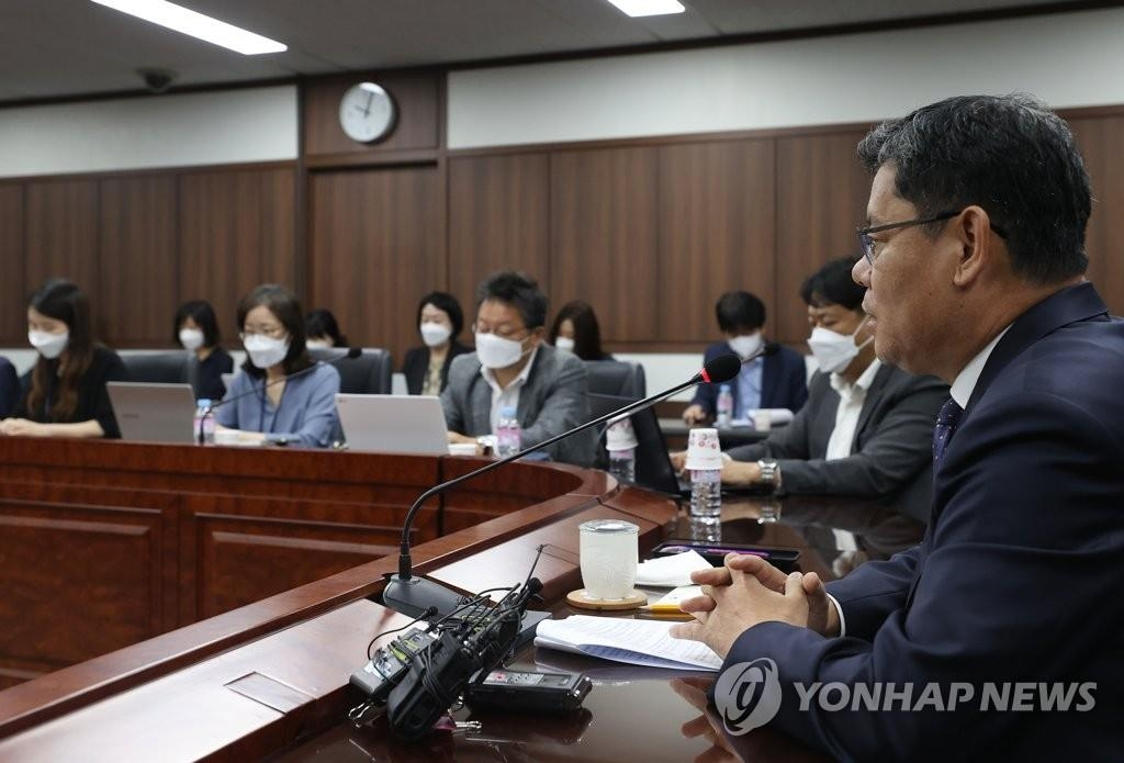 Unification Minister Kim Yeon-chul speaks during a press conference at the government complex in Seoul on May 7, 2020. (Yonhap)