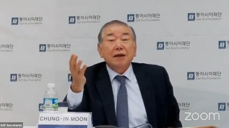 This screenshot shows Moon Chung-in, special security adviser to President Moon Jae-in, during a virtual seminar hosted by the Quincy Institute and the Seoul-based East Asia Foundation on May 27, 2020. (Yonhap)