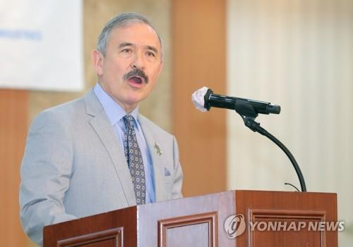 This photo, filed June 19, 2020, shows U.S. Ambassador to South Korea Harry Harris speaking during an event in Yongsan. (Yonhap)