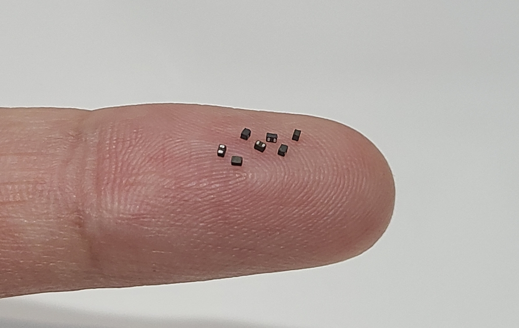 This photo provided by Samsung Electro-Mechanics Co. on Sept. 13, 2020, shows the company's super small power inductors on a finger. (PHOTO NOT FOR SALE) (Yonhap)