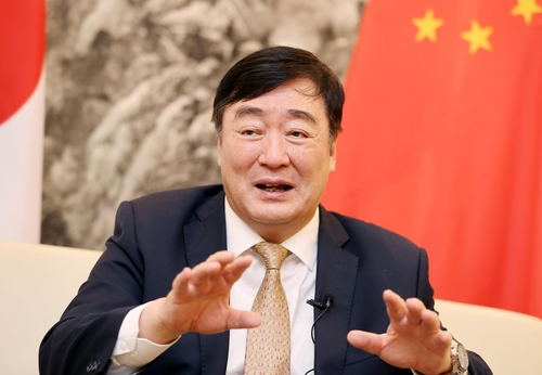 Chinese Ambassador to South Korea Xing Haiming speaks during an interview with Yonhap News Agency at the Chinese Embassy in Seoul on Sept. 22, 2020. (Yonhap)