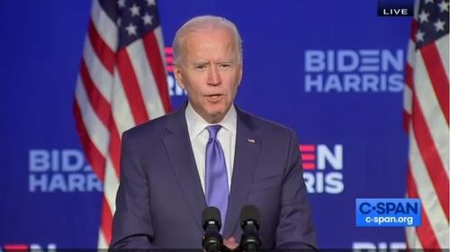 The captured image from the website of U.S. cable news network C-Span shows Democratic presidential candidate Joe Biden speaking at a press conference in Wilmington, Delaware, on Nov. 6, 2020. (PHOTO NOT FOR SALE) (Yonhap)