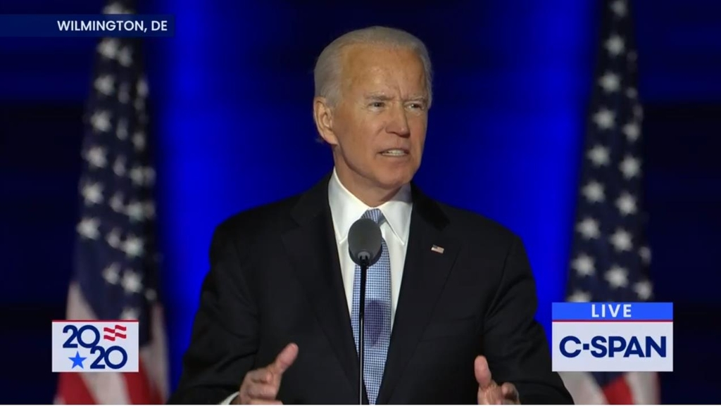The captured image from the website of U.S. cable news network C-Span shows U.S. President-elect Joe Biden speaking in a press conference held in Wilmington, Delaware on Nov. 7, 2020. (PHOTO NOT FOR SALE) (Yonhap)
