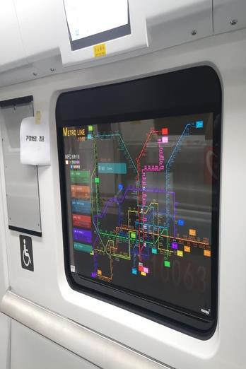 This photo from the website of LG Display shows its transparent OLEDs for subway train windows in China. (PHOTO NOT FOR SALE) (Yonhap)