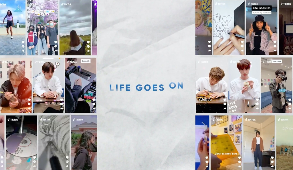 "This image, provided by Big Hit Entertainment, shows a new version of the music video for ""Life Goes On,"" made in collaboration with fans. (PHOTO NOT FOR SALE) (Yonhap)"