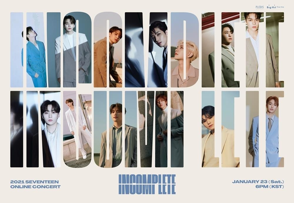 This image, provided by Pledis Entertainment, shows the poster for K-pop boy group Seventeen's online concert to be held on Jan. 23, 2021. (PHOTO NOT FOR SALE) (Yonhap)