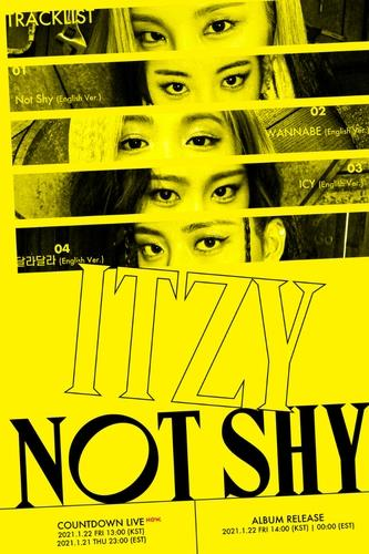 "This image, provided by JYP Entertainment, shows promotional material for girl group ITZY's upcoming album ""Not Shy."" (PHOTO NOT FOR SALE)(Yonhap)"