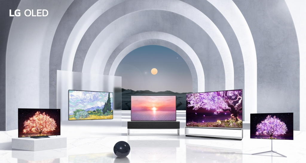 This image provided by LG Electronics Inc. on Jan. 10, 2021, shows the company's OLED TV models for 2021. (PHOTO NOT FOR SALE) (Yonhap)