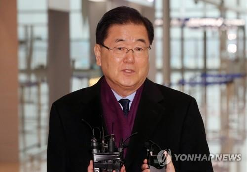 Chung Eui-yong, nominee for foreign minister, speaks to reporters in this photo filed Jan. 7, 2020, when he was the national security adviser. (Yonhap)