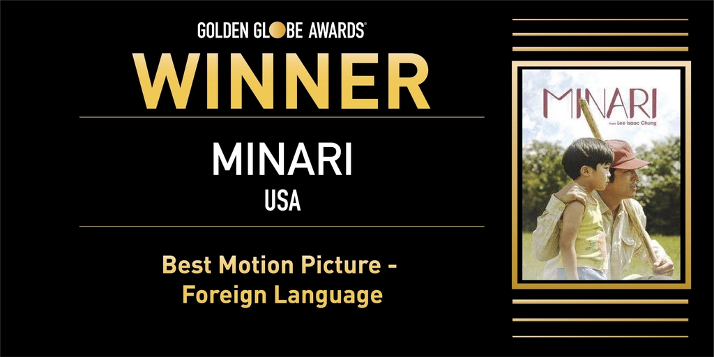 (LEAD) 'Minari' wins best foreign film at Golden Globes | Yonhap News Agency
