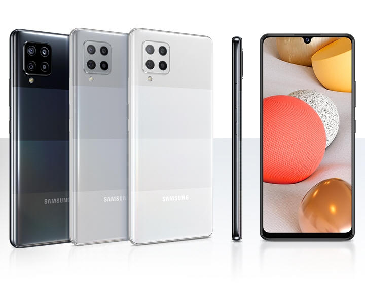 This image, provided by Samsung Electronics Co. on March 8, 2021, shows the company's Galaxy A42 5G smartphone. (PHOTO NOT FOR SALE) (Yonhap)