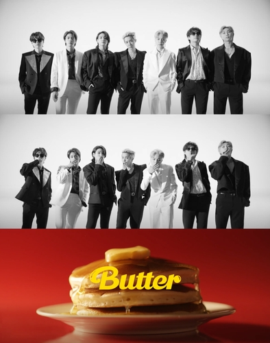 """This image, provided by Big Hit Music, shows a compilation of teaser images for the upcoming BTS single """"Butter."""" (PHOTO NOT FOR SALE) (Yonhap)"""