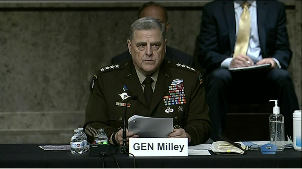 The image captured from the website of the U.S. Department of Defense shows Gen. Mark Milley, chairman of the Joint Chiefs of Staff, speaking in a hearing before the Senate Armed Services Committee in Washington on June 10, 2021. (PHOTO NOT FOR SALE) (Yonhap)